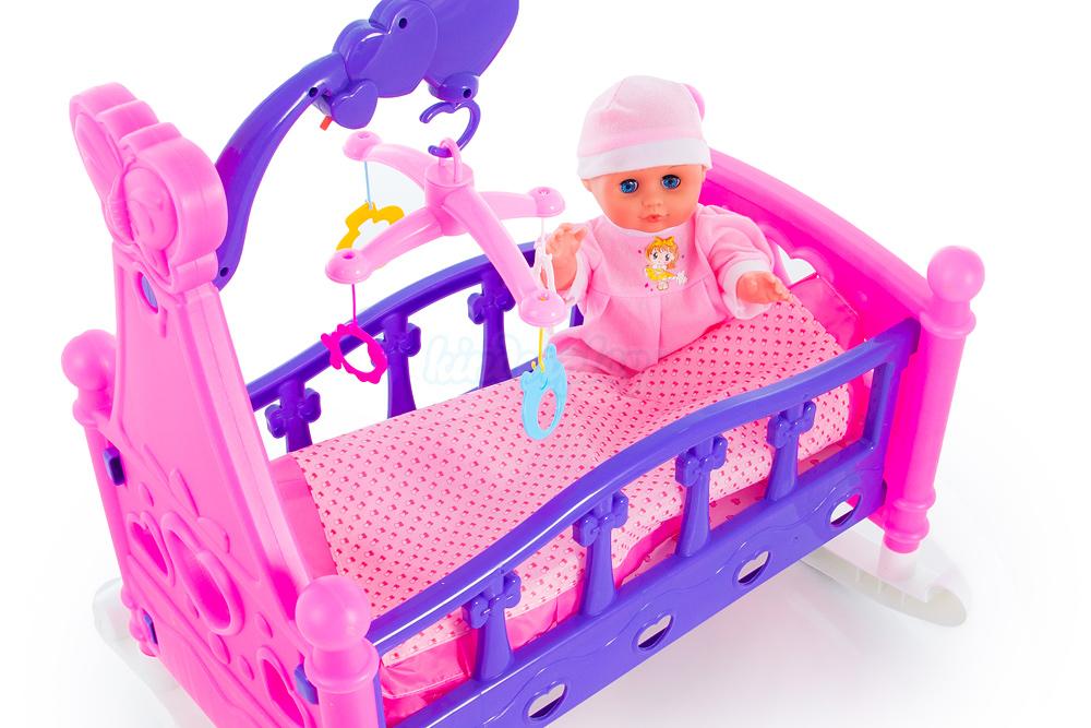 puppenwiege puppenbett mit puppe mobile decke bett kp2957. Black Bedroom Furniture Sets. Home Design Ideas